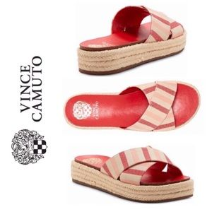 Vince Camuto Slide Sandal NIB Red Cream Tan